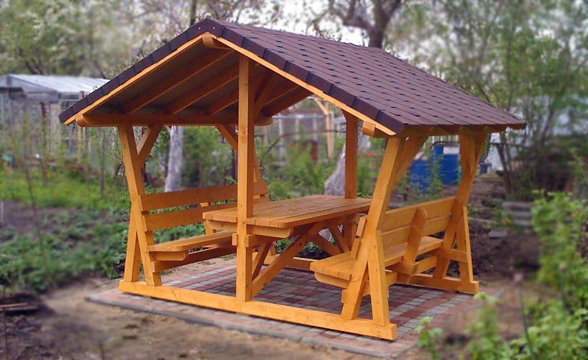 Беседка для дачи деревянная С-4 №3 2.0х3.0х2.6 м