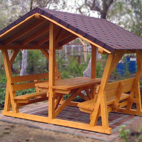Беседка для дачи деревянная С-4 №5 4.0х4.0х2.6 м