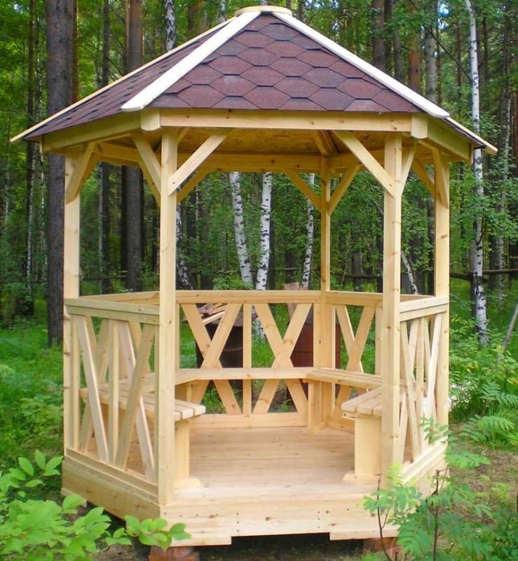Беседка для дачи деревянная С-6 №4 3.5х3.5х2.6 м