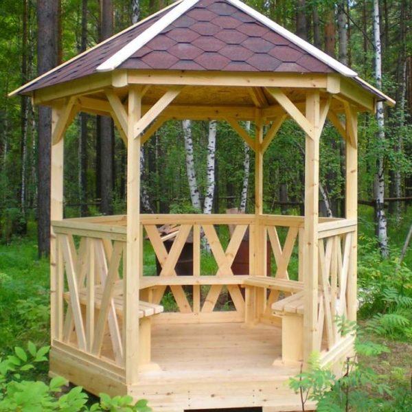 Беседка для дачи деревянная С-6 №5 4.0х4.0х2.6 м