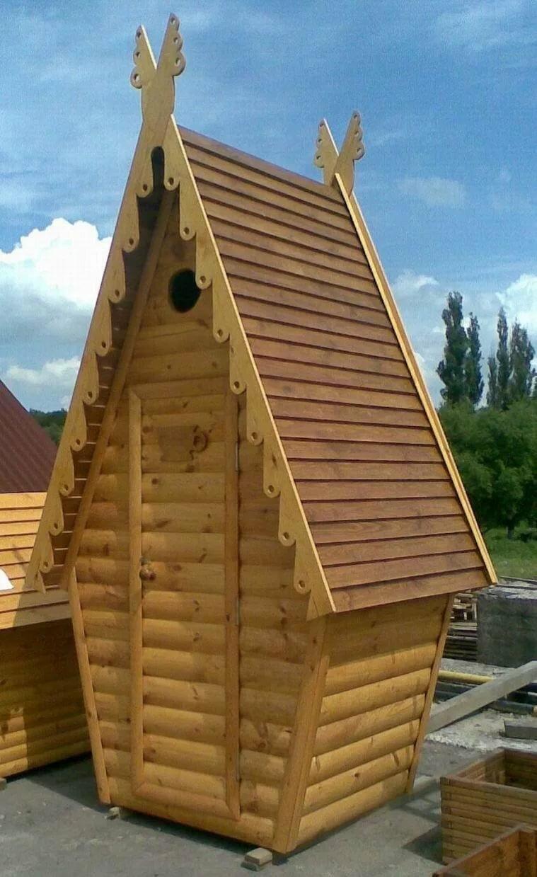 Туалет дачный деревянный Сказка К-14 №3 1.0х1.2х2.6  м