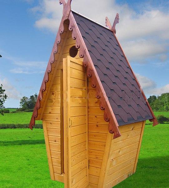Туалет дачный деревянный Сказка К-15 №3 1.0х1.2х2.6  м