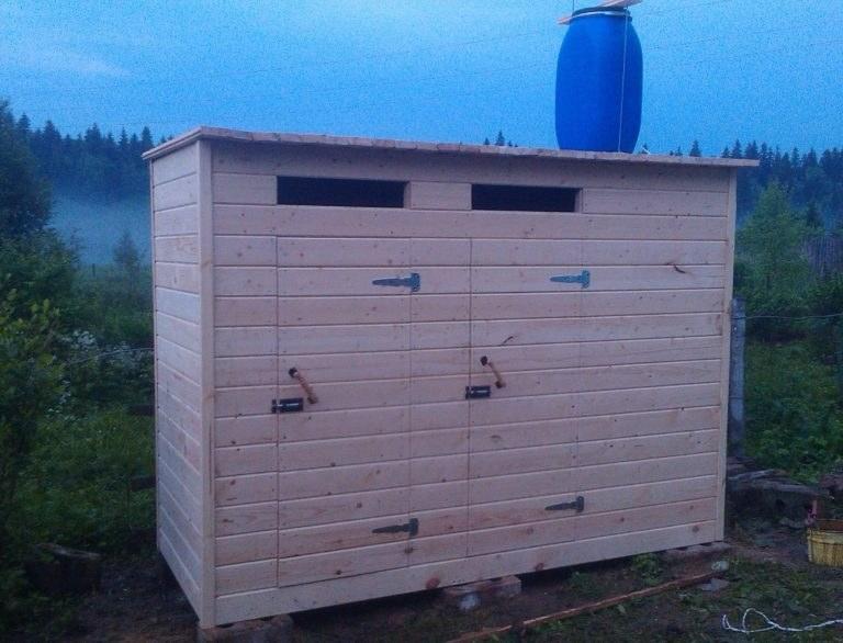 Туалет дачный деревянный с душом К-18 №3 3.0х1.5х2.2 м