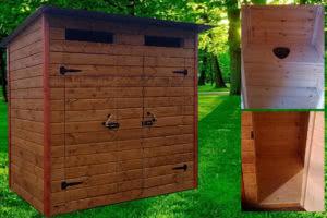 Туалет дачный деревянный с душом К-7 №5 2.0х1.4х2.2  м