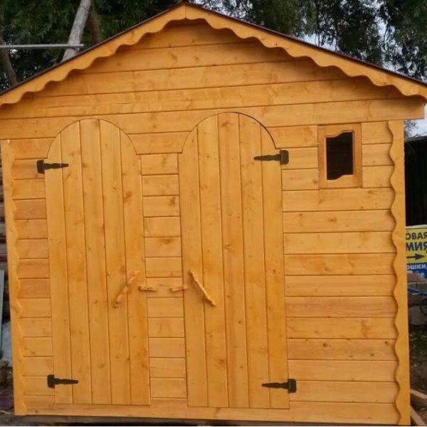 Туалет дачный деревянный с хозблоком К-6 №4 3.0х1.5х2.3 м